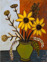 still life sunflowers in green vase by nicolaas maritz