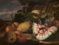 nature morte à la pastèque et aux fruits (+ nature morte à la grenade et au bouquet de fleurs; pair) by agostino verrocchi