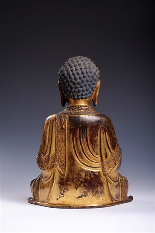 a fine gilt and lacquered bronze figure of buddha shakyamunibrming dynasty 16th century height 33 cm