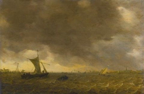 an estuary scene with the onset of a squall and weyschuits lowering their sails by jan josefsz van goyen