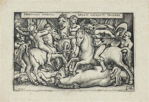 hercules fighting against the trojans from the labours of hercules by hans sebald beham
