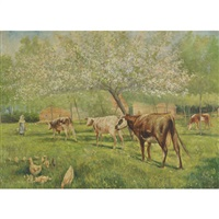 milking time, believed to be the winston churchill farm by kenyon c. cox