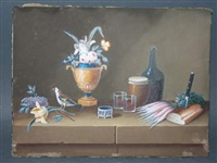 nature morte à la guitare, colombe et poissons rouges sur un entablement (+ 3 others; 4 works) by lelong