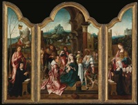 the adoration of the magi and the donors with st. john and st. margaret (triptych) by flemish school-antwerp (16)