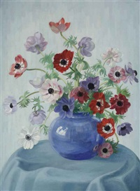 a still life with anemones in a blue vase by dirk smorenberg