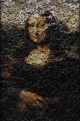 mona lisa after leonardo da vinci gordian puzzles by vik muniz