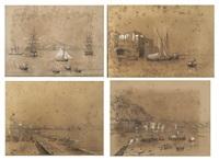 napoli dal mare; marechiaro; la riviera di chiaia; posillipo (4 works) by posillipo