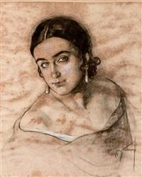 retrato de amparo, esposa de josé cruz herrera by josé cruz herrera