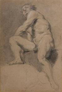 académie d'homme assis de face sur un bloc, la jambe droite repliée by jean restout the younger