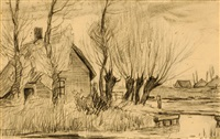 farm amongst trees (+ 5 others, various sizes; 6 works) by gerardus johannes roermeester
