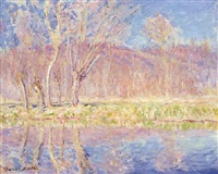 arbres au bord de l'eau, printemps à giverny by claude monet
