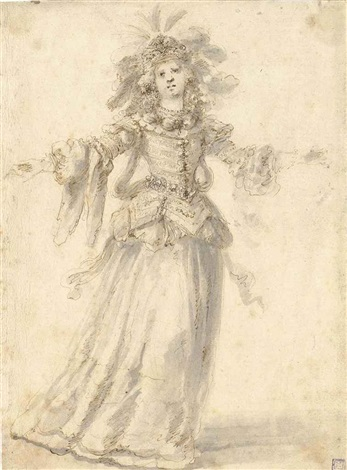 a costume design for a theatrical performance given in florence by the accademia degli immobilirecto a preliminary studyverso by stefano della bella
