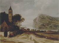 an extensive river landscape with a church, cattle grazing and a traveller on a track by philips de momper the younger