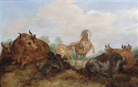 a landscape with a horse and cows by gillis claesz de hondecoeter