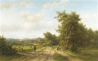 heemstede bij haarlem: peasants at the outskirts of a village in the dunes by willem vester
