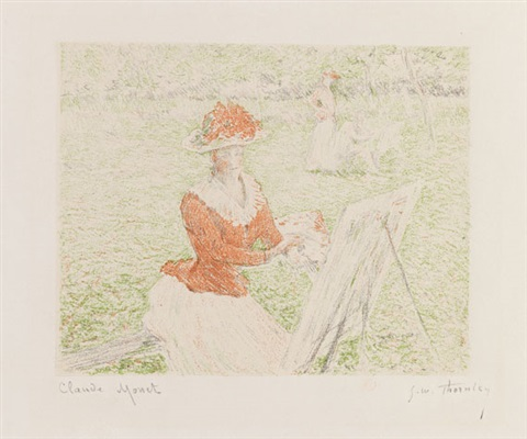 blanche hoschedé au chevalet (lithographed by georges william thornley) by claude monet