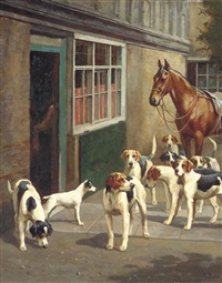 a saddled hunter and hounds in a courtyard by alfred duke