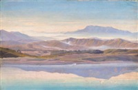 berge im morgennebel (mountainous landscape in the early morning mist) by august lucas