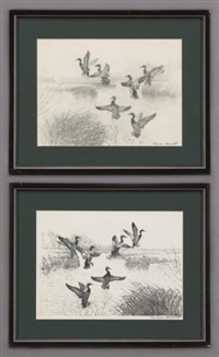 ducks (+ another, etching; 2 works) by reveau mott bassett