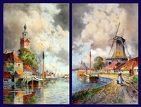 dutch canal scene (+ another; pair) by louis van staaten