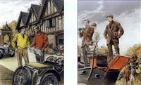men by roadster, map (+ horserace spectators with binoculars; 2 works) by leslie saalburg