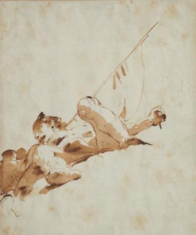 figure plafonnante avec un étendard et un vase by giovanni battista tiepolo