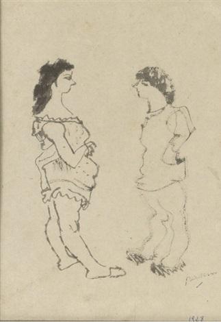 deux femmes de profil by jules pascin