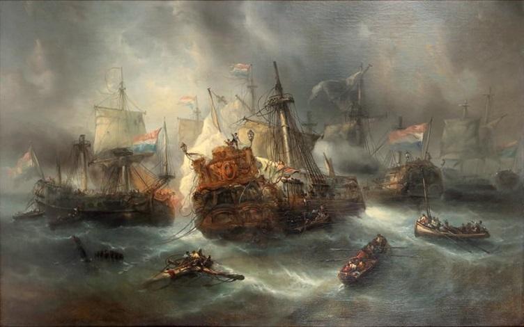 scène de bataille navale by louis gabriel eugène isabey