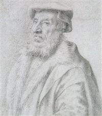 portrait of a man wearing a cap and a fur collar by giulio clovio