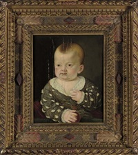portrait of a boy in a grey coat holding a ball by agnolo bronzino