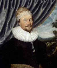 portrait of sir giles allington in a black embroidered coat with lace ruff and gold embroidered cap by anglo-flemish school (17)