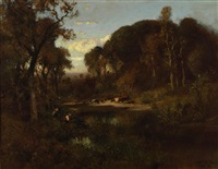 cattle watering at dusk by william keith
