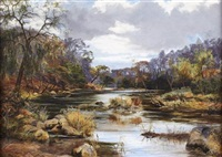 autumn tints on the stream by james faed the younger