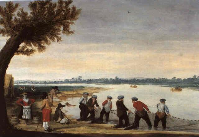 pêcheurs ramassant des filets au bord dun lac by barent avercamp