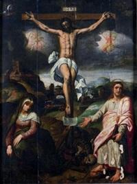 le christ en croix entouré de la sainte vierge et de saint jean (in 3 parts) by bernaert (barend) van orley