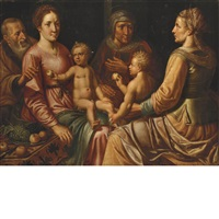 the virgin and child with saints joseph, anne, elizabeth and the child john the baptist by vincent sellaer