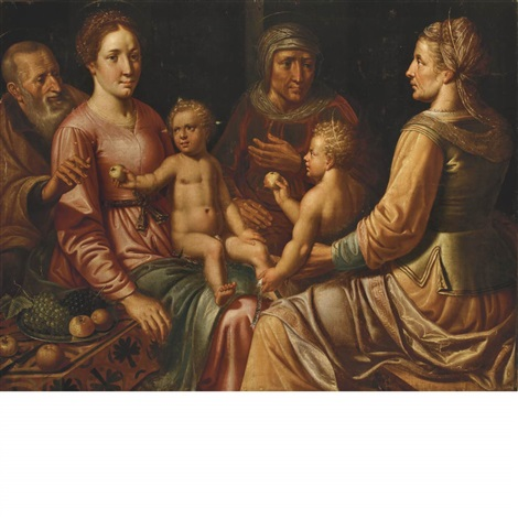the virgin and child with saints joseph anne elizabeth and the child john the baptist by vincent sellaer