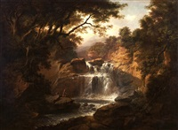 figures fishing by a waterfall by alexander nasmyth
