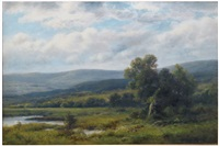 summer landscape with pond and distant hills by thomas b. griffin