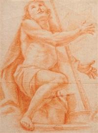 david jouant de la harpe (+ deux grandes figures de femme et torse masculin (study), pierre noire, verso) by pietro faccini