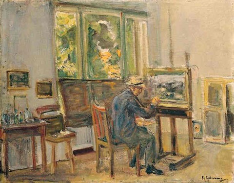 der künstler in seinem atelier in wannsee the artist in his studio in wannsee by max liebermann