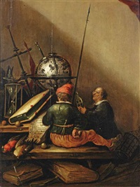 a vanitas still life with two men on a wooden bench by petrus schotanus