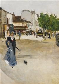 boulevard de clichy, l'élégante au caniche by norbert goeneutte