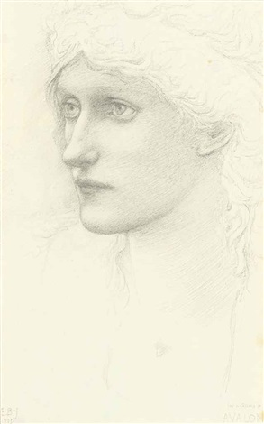 study for the head of a queen in arthur in avalon by edward burne jones