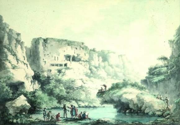vue prise dans la vallée dispica dans le val de noto en sicile by claude louis châtelet
