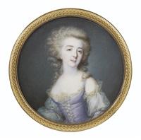 portrait de jeune femme à la robe lilas by jean baptiste jacques augustin