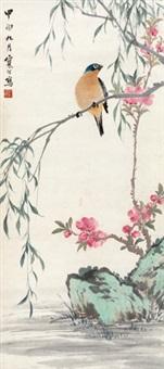 桃花翠鸟 立轴 纸本 by jiang hanting