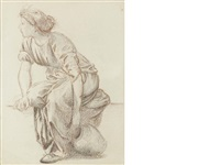 a seated woman with a pitcher by edward burne-jones