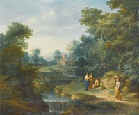 an arcadian landscape with figures resting beside a waterfall by jacob andries beschey