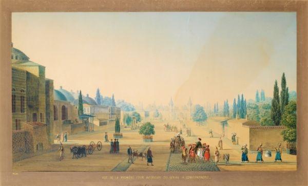 vue de la première cour intérieure du sérail à constantinople by antoine ignace melling